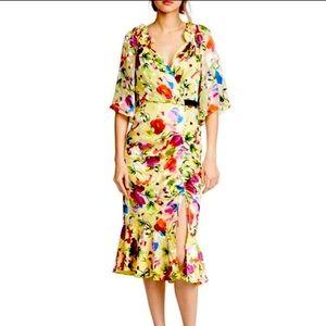 Saloni Olivia Floral Silk Midi Dress Yellow Pink 8